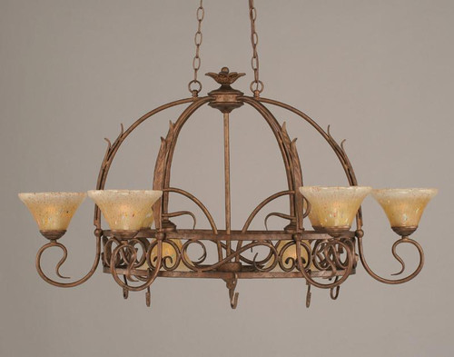 Eight Light Bronze Amber Crystal Glass Pot Rack-216-BRZ-750 by Toltec Home Goods