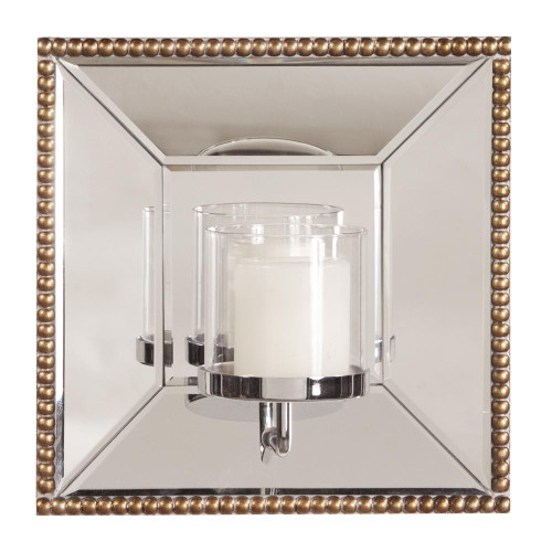 Lydia Square Mirror With Candle Holder-99075 by Howard Elliott Home Goods