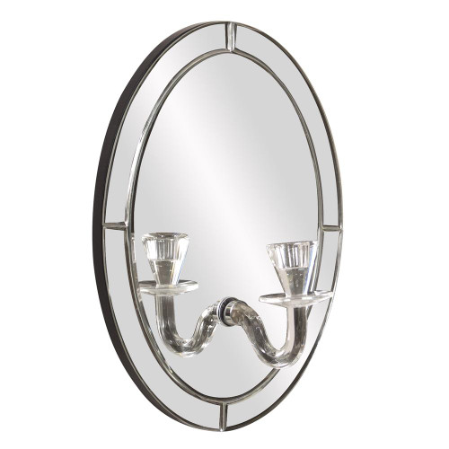 Opal Oval Mirror With Candle Holder-99071 by Howard Elliott Home Goods