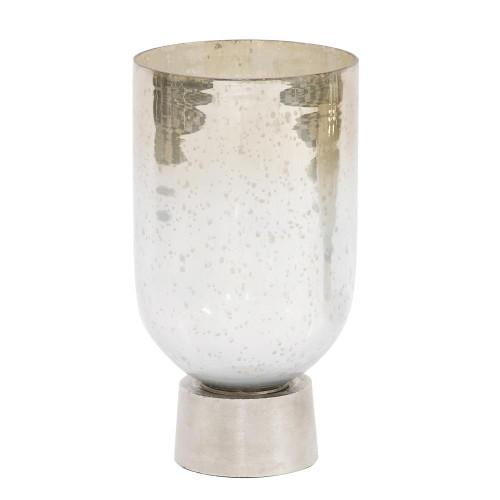 Large Howard Elliott 93042 Smoky Chrome Hand Blown Glass Vase