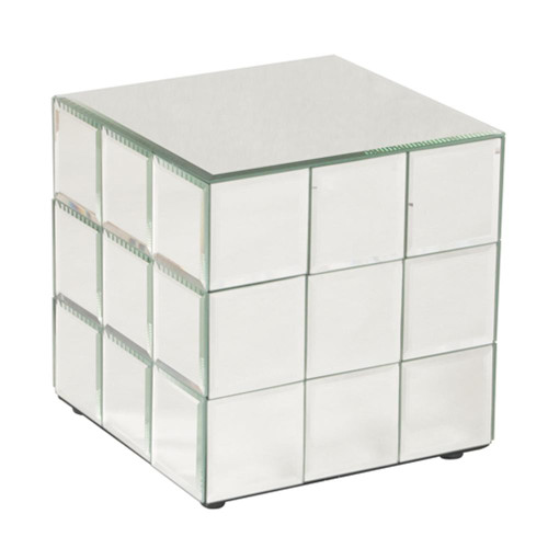 Antares Short Mirrored Puzzle Cube Pedestal-11045 by Howard Elliott Home Goods