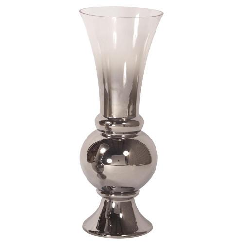 Smokey Glass Fluted Large Vase-93011 by Howard Elliott Home Goods