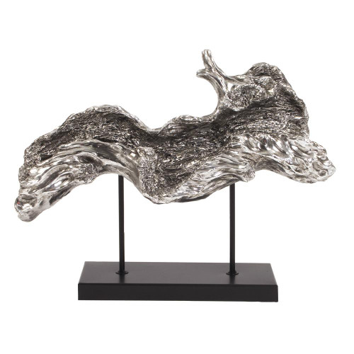Silver Plated Log Replica On Metal Stand-12187 by Howard Elliott Home Goods