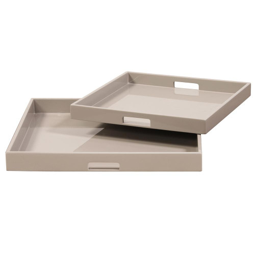 Taupe Lacquer Square Wood Tray Set-83025 by Howard Elliott Home Goods