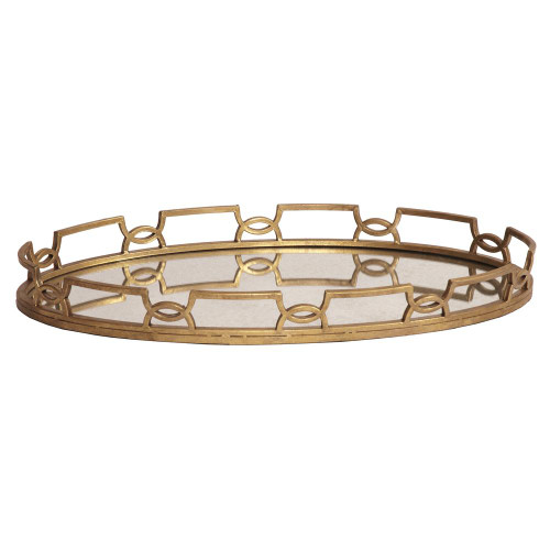 Bright Gold Metal Tray-11222 by Howard Elliott Home Goods