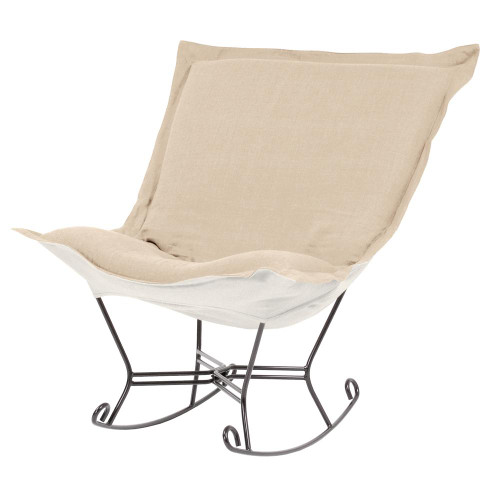 Sterling Sand Scroll Puff Rocker Titanium Frame-600-203 by Howard Elliott Home Goods