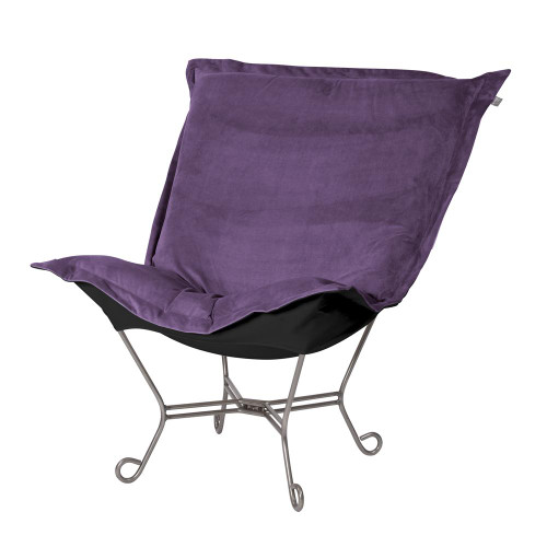 Bella Eggplant/Black Puff Scroll Chair Titanium Frame-500-223 by Howard Elliott Home Goods