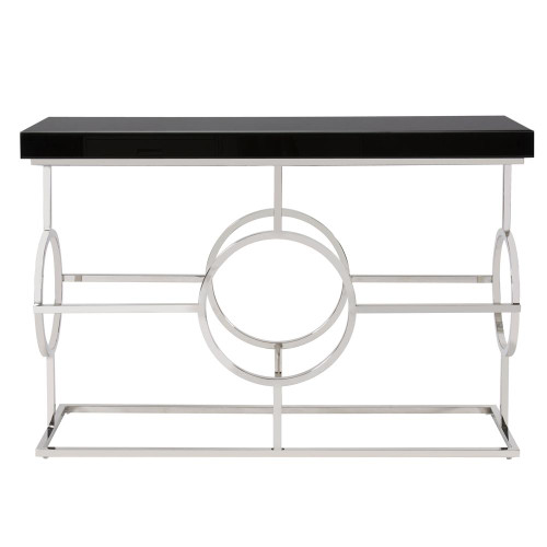 Stainless Steel Console Table With Black Top-11182 by Howard Elliott Home Goods