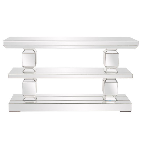 Mirrored 3 Shelf Console Table-99028 by Howard Elliott Home Goods