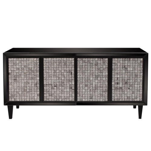 Glossy Black Cabinet With Tile Front-68065 by Howard Elliott Home Goods