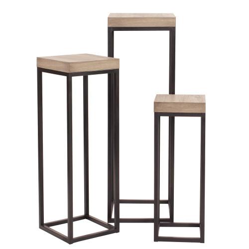 Wood & Metal Pedestalsset Of 3-83035 by Howard Elliott Home Goods
