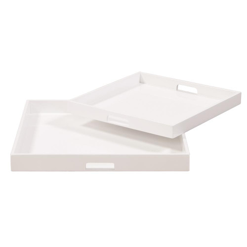White Lacquer Square Wood Tray Set-83024 by Howard Elliott Home Goods