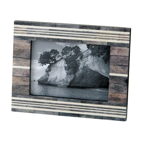 Home Decor By Dimond Gray And White 4x6 Horn And Bone Frame 903006