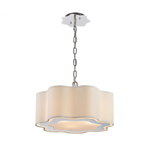 Chandeliers/Pendant Lights By Dimond Villoy 3 Light Drum Pendant In Polished Stainless Steel And Nickel 1140-018