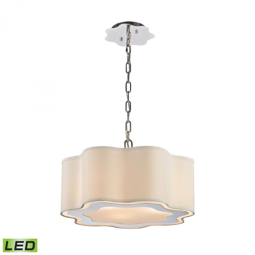 Chandeliers/Pendant Lights By Dimond Villoy 3 Light LED Drum Pendant In Polished Stainless Steel And Nickel 1140-018-LED
