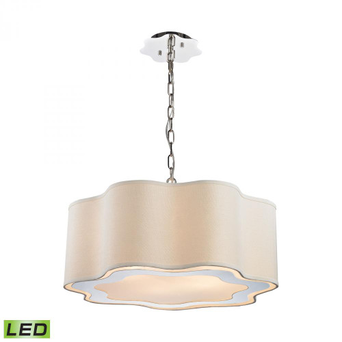 Chandeliers/Pendant Lights By Dimond Villoy 6 Light LED Drum Pendant In Polished Stainless Steel And Nickel 1140-019-LED