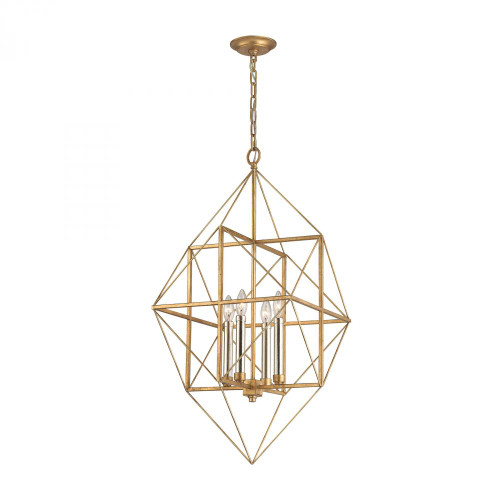 Chandeliers/Pendant Lights By Dimond Connexions 4 Light Pendant In Antique Gold And Silver Leaf 1141-005