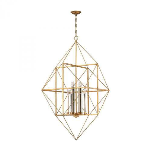 Chandeliers/Pendant Lights By Dimond Connexions 8 Light Pendant In Antique Gold And Silver Leaf 1141-006