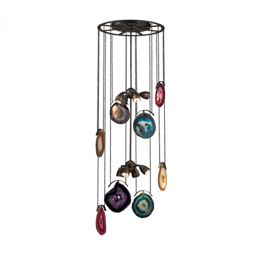 Chandeliers By Dimond Gallery 8 Light Chandelier In Oil Rubbed Bronze And Brushed Slate 1141-007
