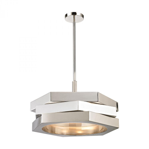 Chandeliers/Pendant Lights By Dimond Facet 3 Light Pendant In Polished Nickel 1141-011