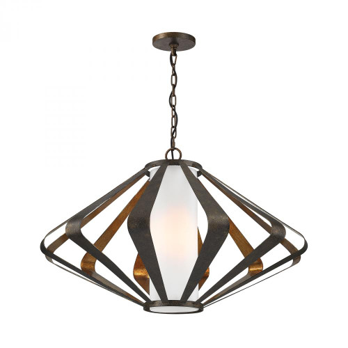 Chandeliers/Pendant Lights By Dimond Reflex 1 Light Pendant In Textured Gold Leaf And Mocha 1141-012