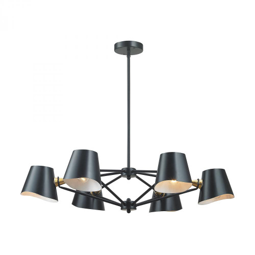 Chandeliers By Dimond Webre 6 Light Chandelier In Matte Black And Gold Leaf 1141-018