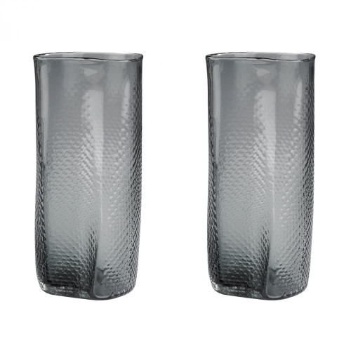 Home Decor By Dimond Etched Glass Vases In Grey - Set of 2 154-015/S2