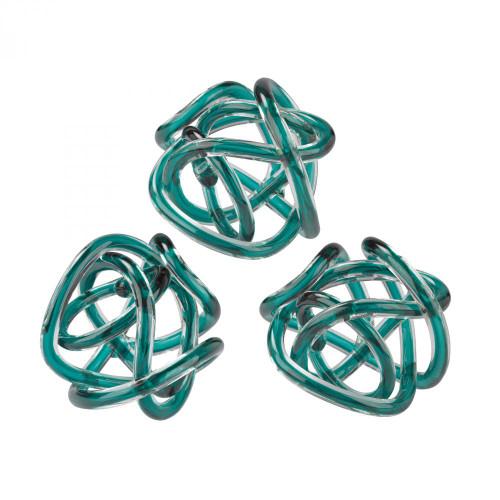 Home Decor By Dimond Aqua Glass Knots - Set of 3 154-020/S3