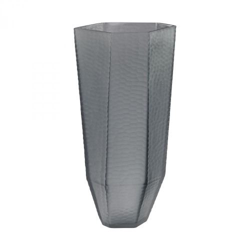 Home Decor By Dimond Stacked Cuts Glass Vase in Gray 4154-037
