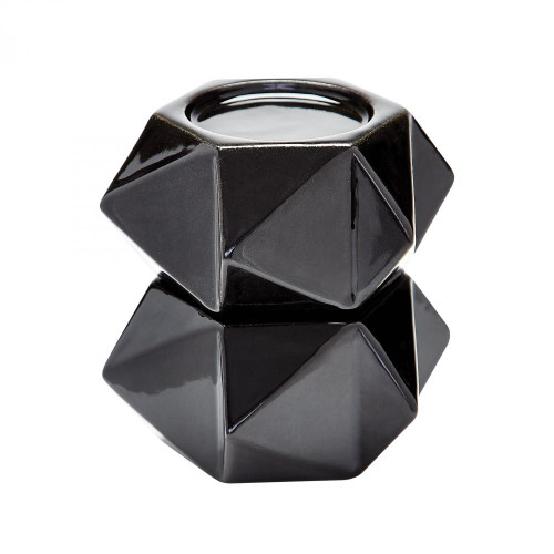 Home Decor By Dimond Large Ceramic Star Candle Holders In Black - Set 857126/S2