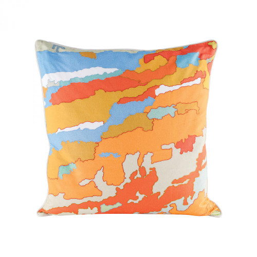 Home Decor By Dimond Orange Topography Pillow With Goose Down Insert 8906-007