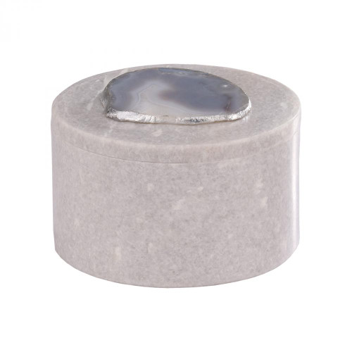 Home Decor By Dimond Antilles Round Box In White Marble And Natural A 8989-023