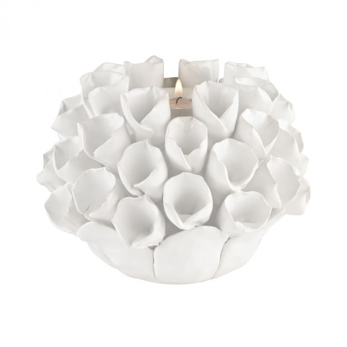Home Decor By Dimond White Ceramic Bud Candle Holder 9167-040