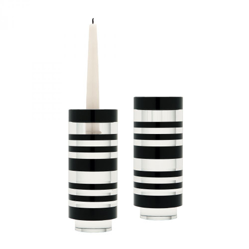 Home Decor By Dimond Small Sliced Tuxedo Crystal Candleholders - Set 980001/S2