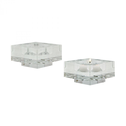 Home Decor By Dimond Small Square Windowpane Crystal Candleholders - 980006/S2
