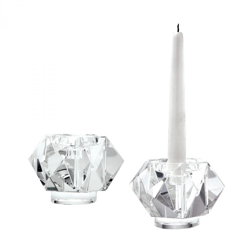 Home Decor By Dimond Small Faceted Star Crystal Candleholders - Set o 980010/S2