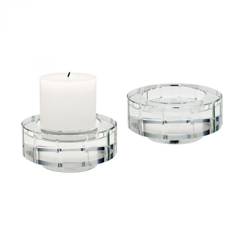 Home Decor By Dimond Large Round Windowpane Crystal Candleholders - S 980015/S2