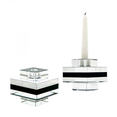 Home Decor By Dimond Square Tuxedo Crystal Pedestal Candleholders - S 980018/S2