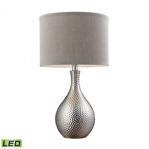Lamps By Dimond Hammered Chrome Plated LED Table Lamp With Grey Faux Silk Shade D124-LED