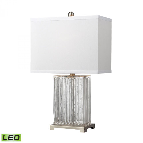 Lamps By Dimond Ribbed Clear Glass LED Table Lamp in Brushed Steel D140-LED