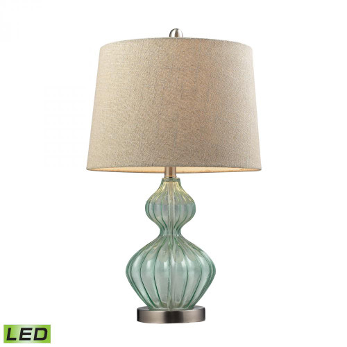 Lamps By Dimond Smoked Glass LED Table Lamp In Pale Green With Metallic Linen Shade D141-LED