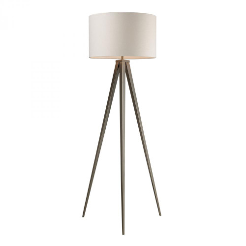 Lamps By Dimond Salford Floor Lamp In Satin Nickel With Off White Linen Shade D2121