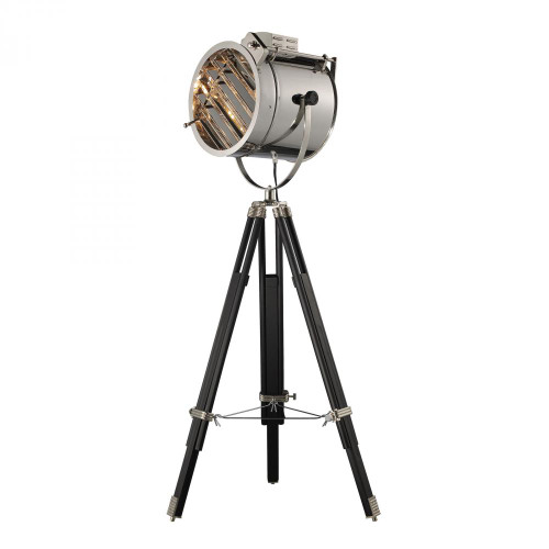 Lamps By Dimond Curzon Adjustable Floor Lamp in Chrome and Black D2126