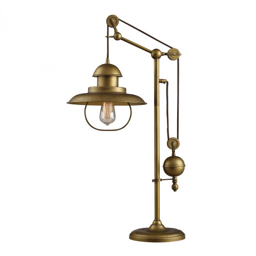 Lamps By Dimond Farmhouse Table Lamp In Antique Brass With Matching Metal Shade D2252