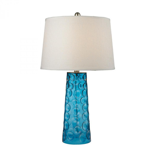 Lamps By Dimond Hammered Glass Table Lamp in Blue With Pure White Linen Shade D2619