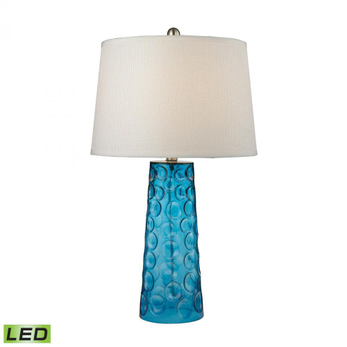 Lamps By Dimond Hammered Glass LED Table Lamp in Blue With Pure White Linen Shade D2619-LED