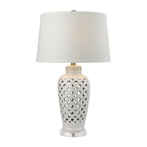 Lamps By Dimond Openwork Ceramic Table Lamp in White With White Shade D2621