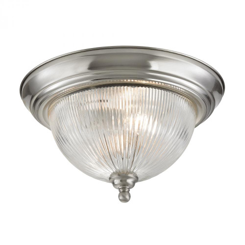 Ceiling Lights By Elk Cornerstone Liberty Park 2 Light Flush Mount In Brushed Nickel 7672FM/20