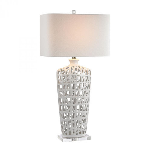 Lamps By Dimond Ceramic Table Lamp in Gloss White And Crystal 17x36 D2637