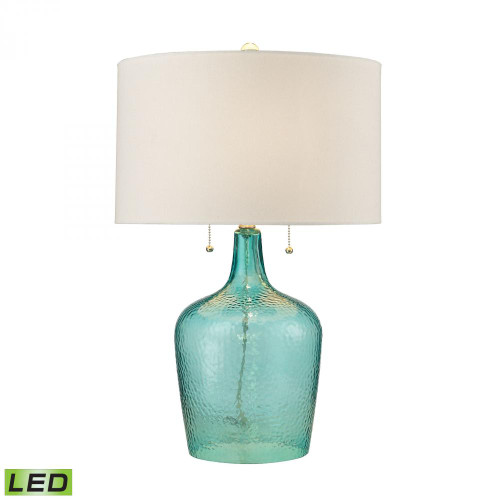 Lamps By Dimond Hatteras Hammered Glass LED Table Lamp in Seabreeze D2689-LED